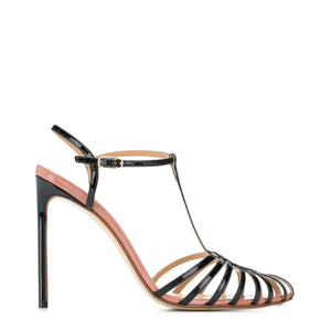 Black Patent Leather Cage Sandal