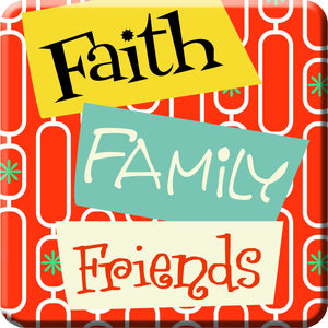 Oak Patch Gifts Retro Kitchen: Ceramic Magnet, Faith Family Friends