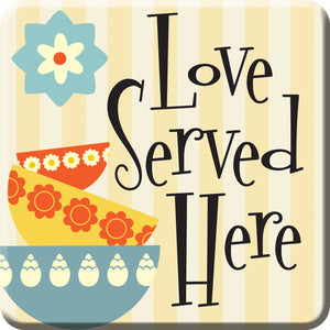 Oak Patch Gifts Retro Kitchen: Ceramic Magnet, Love Served Here