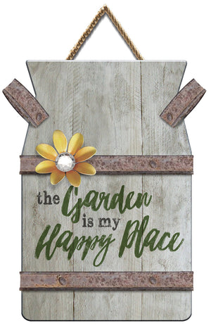 Oak Patch Gifts In the Garden: Pallet Art-Milk Can Happy Place Sign