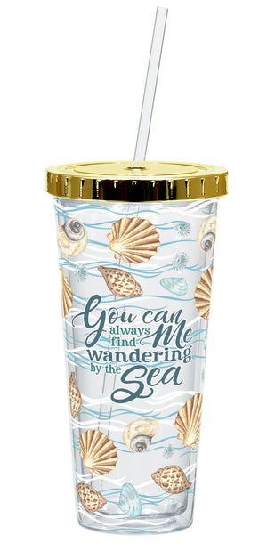 Oak Patch Gifts Coastal: Straw Cup: Shells Wandering by the Sea