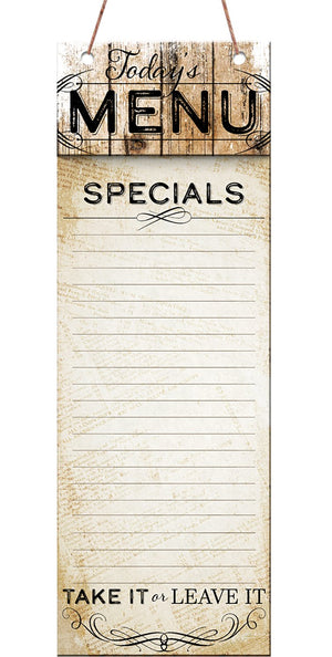 Oak Patch Gifts Vintage Kitchen: Specials Menu Hanging Listpad