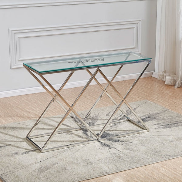 Luxe Double Cross Sidetable Silver