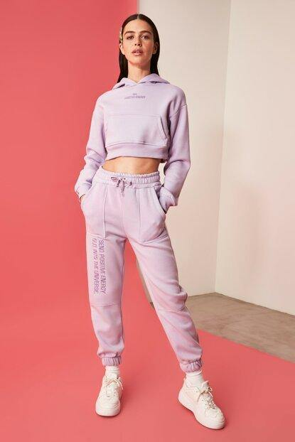 Women's Embroidered Lilac Tracksuit