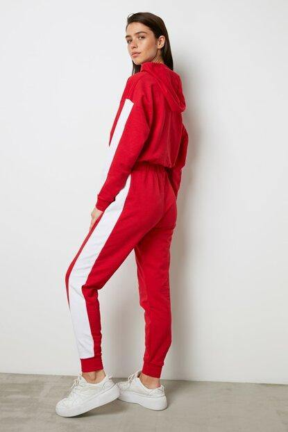 Women's Side Striped Red Tracksuit