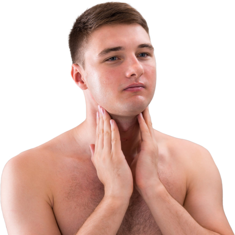 Male with hands held to neck after applying THAW post-shave repair gel.