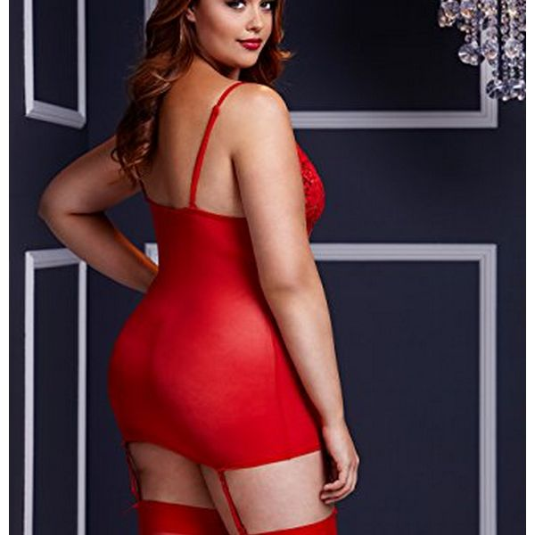 Body rouge & porte jarretière no panty grande taille Baci Lingerie BW3109-REDQS
