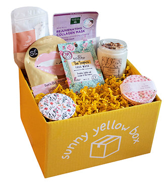 sunny yellow box with spa items inside