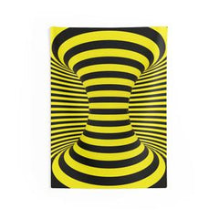 yellow spiral tapestry