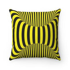 black and yellow spiral decorative pillow