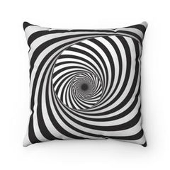 black and white spiral pillow