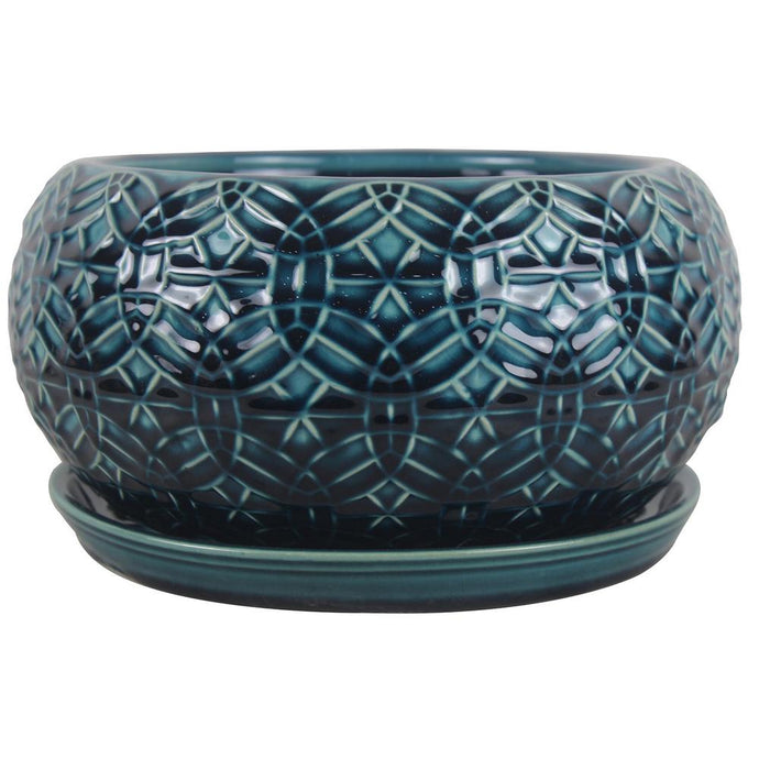 Trendspot Bowl Planter Drainage Hole Indoor Outdoor Ceramic Crackle Blue 10 Inch
