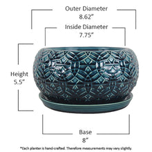 Load image into Gallery viewer, Trendspot Bowl Planter Drainage Hole Indoor Outdoor Ceramic Crackle Blue 10 Inch