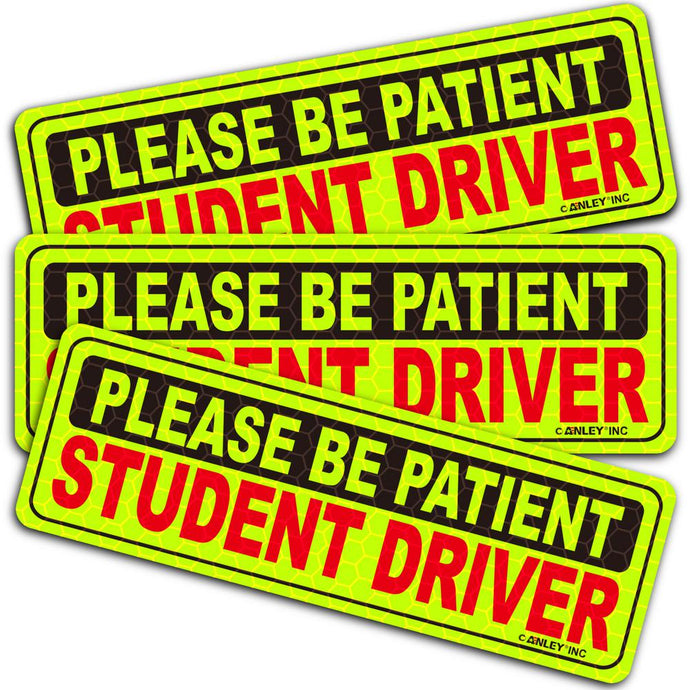 10 In. X 3.3 In. Reflective Student Driver Magnetic Car Signs Please Be Patient Student Driver
