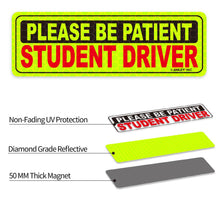 Load image into Gallery viewer, 10 In. X 3.3 In. Reflective Student Driver Magnetic Car Signs Please Be Patient Student Driver