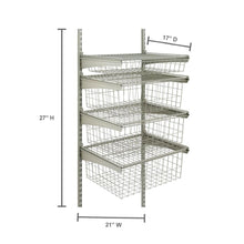 Load image into Gallery viewer, 17 In. D X 21 In. W X 27 In. H ShelfTrack 4-Drawer Kit Steel Closet System In Nickel