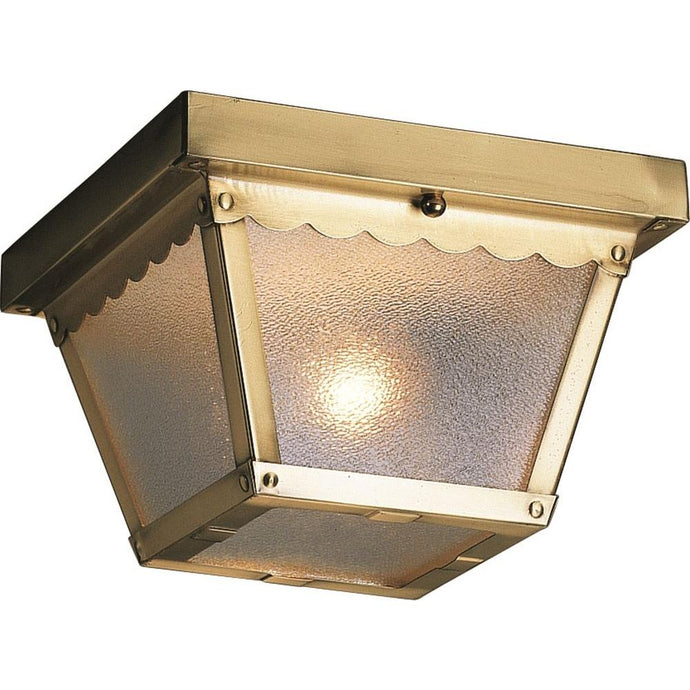 2-Light Outdoor Polished Brass Flush Mount Ceiling Fixture