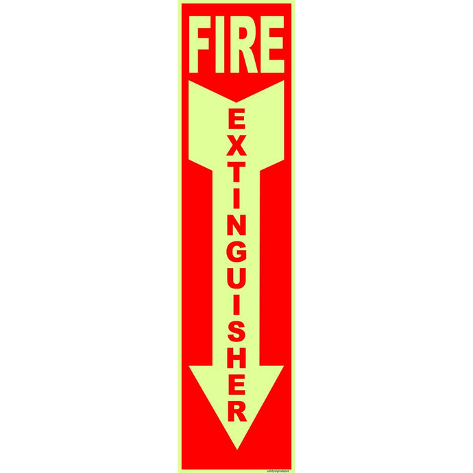 4 In. X 12 In. Glow In The Dark Fire Extinguisher Sign Sticker