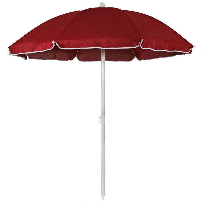 5 Ft. Steel Portable Outdoor Beach Tilt Umbrella In Red