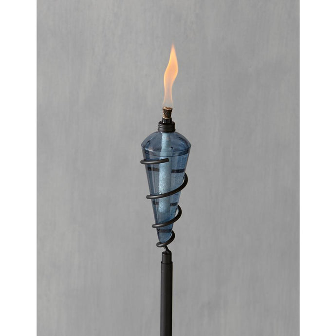 Tiki Torch Light Decortaive Outdoor 64 Inch Swirl Metal Teal Blue Glass Head New