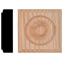Load image into Gallery viewer, 7/8 In. X 3-1/4 In. X 3-1/4 In. Red Oak Block Rosette
