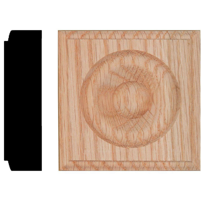 7/8 In. X 3-1/4 In. X 3-1/4 In. Red Oak Block Rosette