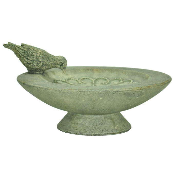 Cast Stone Table Birdbath | Outdoor Patio Garden Bowl Decor Water Basin Yard