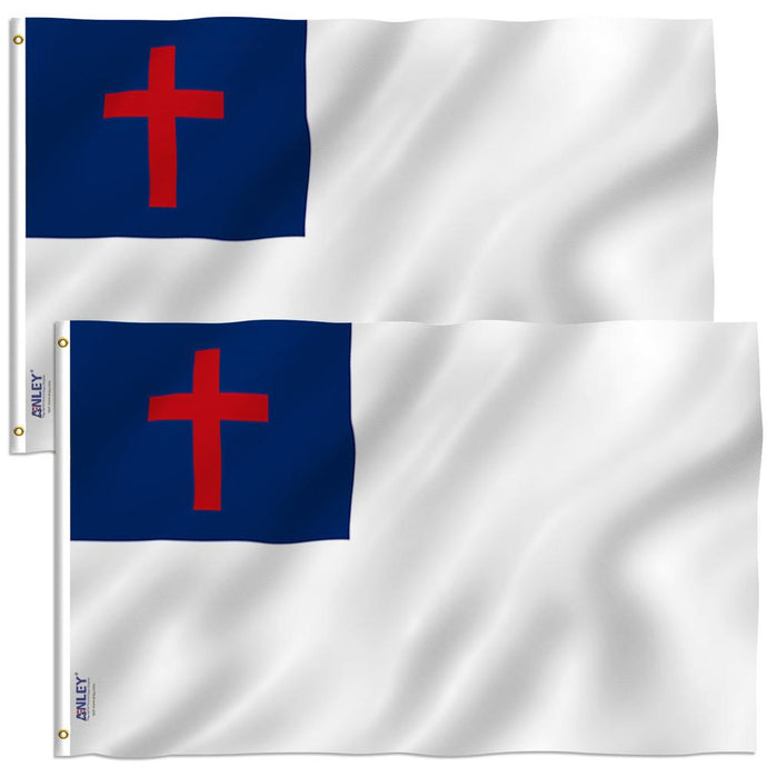 Fly Breeze 3 Ft. X 5 Ft. Polyester Christian Flag 2-Sided Flag Banner With Brass Grommets And Canvas (2-Pack)