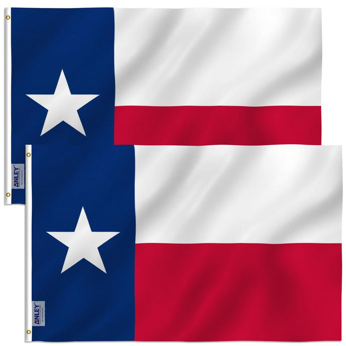 Fly Breeze 3 Ft. X 5 Ft. Polyester Texas State Flag 2-Sided Flags Banner With Brass Grommets And Canvas (2-Pack)