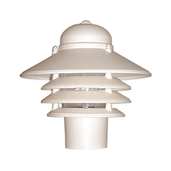 Nautical 1-Light White Post Mount Walkway Light With 3000K ENERGY STAR LED Lamp Fits 3 In. Dia Posts