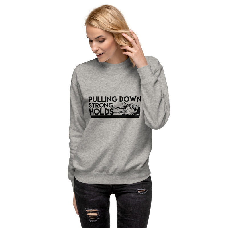 Pulling down strong holds Unisex Fleece Pullover