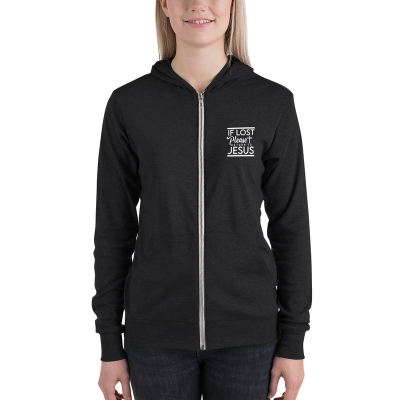 If Lost Please Return to Jesus Unisex zip hoodie