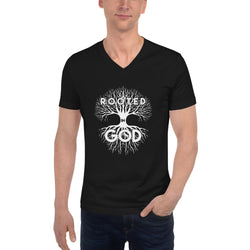 Rooted in God Unisex Short Sleeve V-Neck T-Shirt