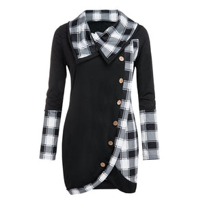 Woman Long Sleeve Sweatshirt Explosion New Plaid Turtleneck Tartan Tunic Pullover Autumn Winter Fashion Casual Warm Blouse Top