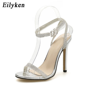 Eilyken 2020 New Silver Chain Crystal Sexy Women Sandals High Heels Gladiator Sandals Wedding Party Woman Zapatos mujer
