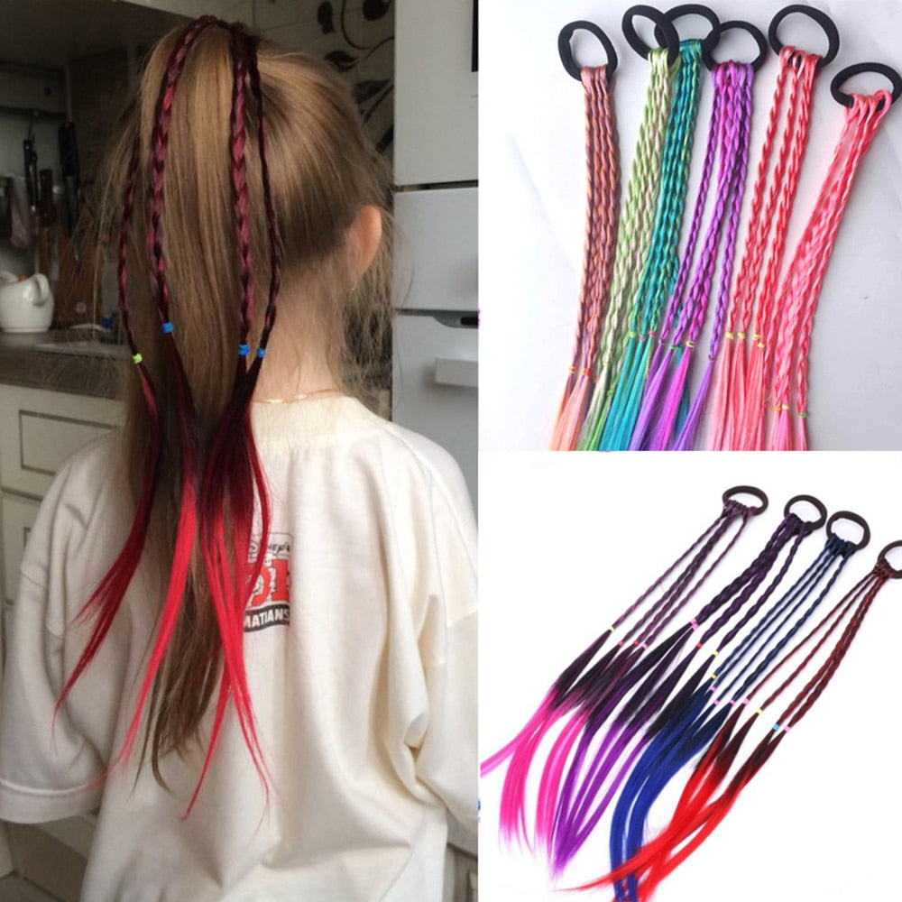 New Cute Girls Elastic Hair Rope Rubber Bands Braides Hair Accessories Wig Ponytail Hair Ring Kids Twist Braid Rope Hair Braider