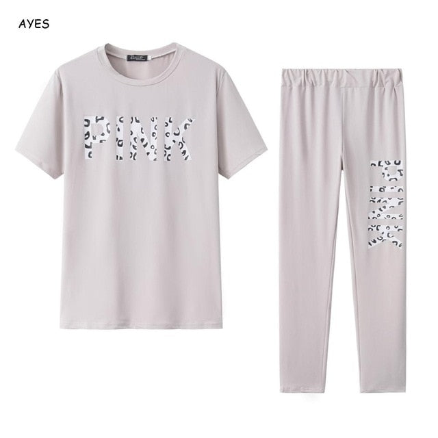 Women Set PINK Letter Print Sweatsuit Women Casual Plus Size Tops Skinny Pants Sweat Suit Two Piece Tracksuit 2 Piece Set S-XXXL