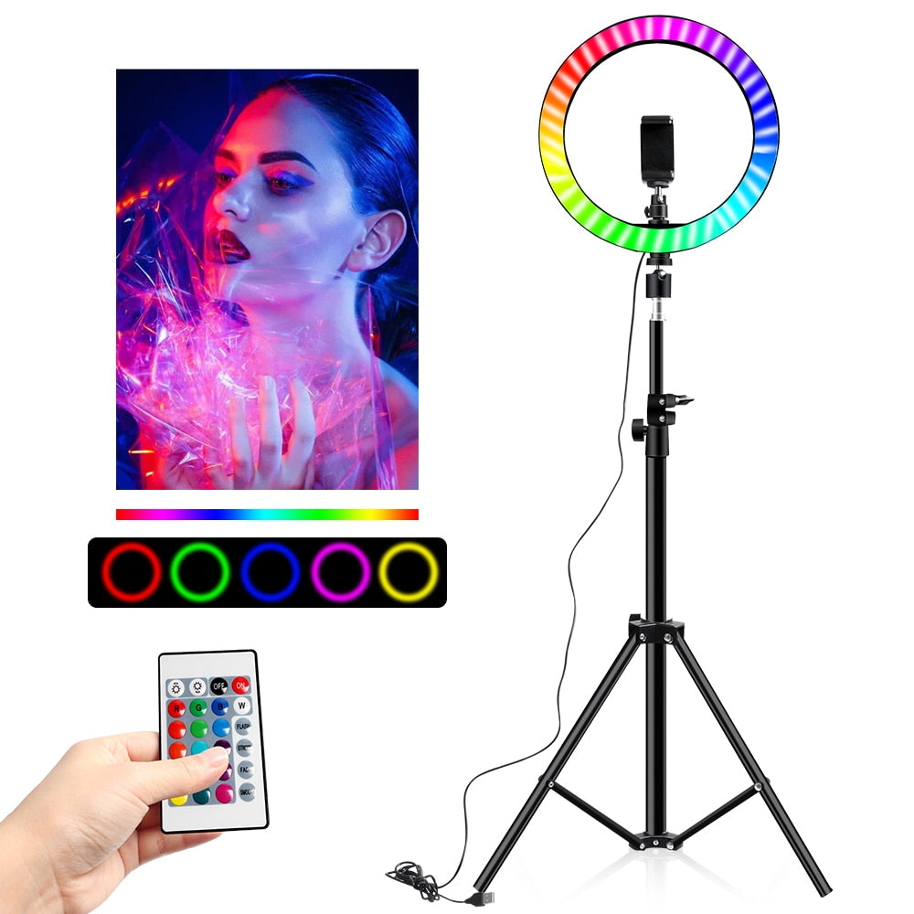 "10 Inch Rgb Video Light 16Colors Rgb Ring Lamp For Phone With Remote Camera Studio Large Light Led 48"" Stand 160Cm For Youtuber"