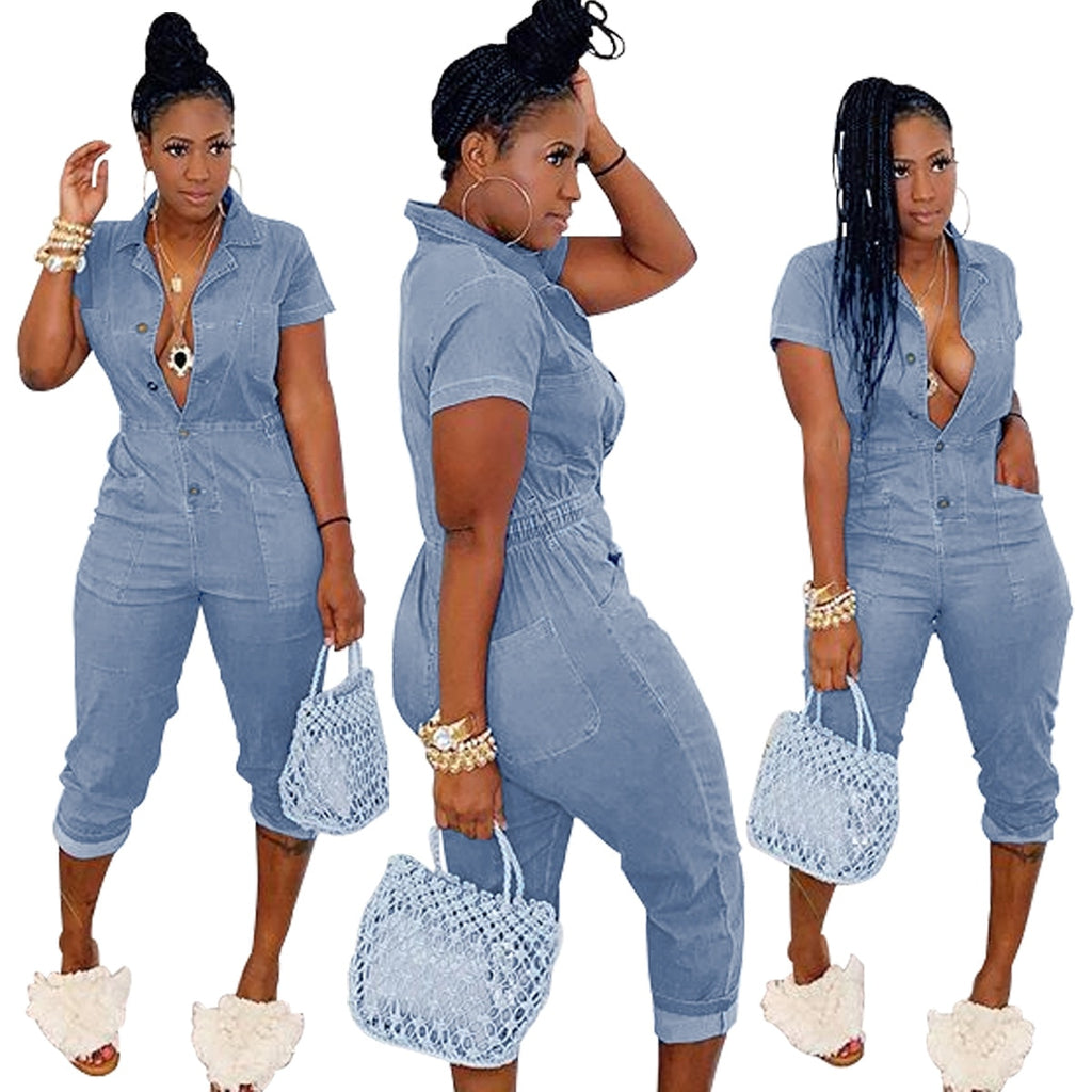 Women's Fashion Casual Short Sleeve Solid Regular Calf-length Jumpsuits with Pockets