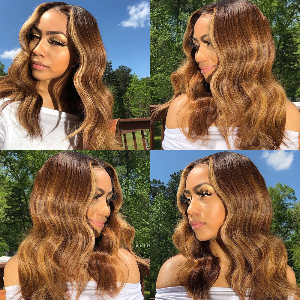 30 Inch Highlight Human Hair Wigs Body Wave Lace Front Wig Peruvian Hair Remy 13x1 Ombre Honey Blonde And Brown Highlight Wig