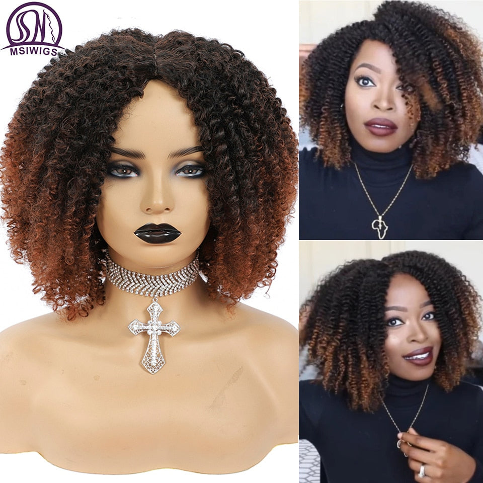 MSIWIGS Women's Short Afro Kinky Curly Wigs Ombre Brown Synthetic Middle Part Nature Hair Black Daily Party Headgear with Clips