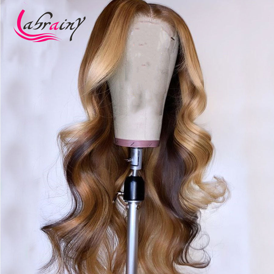 13x6 HD Lace Frontal Highlight Human Hair Wig Brazilian Honey Blonde Lace Front Wigs Preplucked Body Wave Wigs Natural Hairline