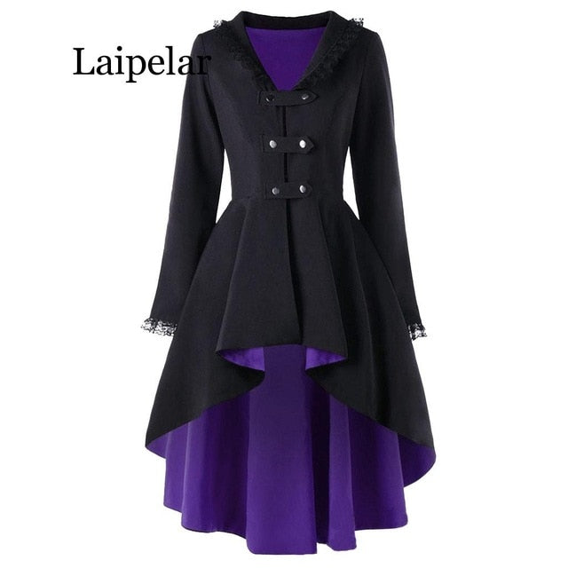 New Fashion Gothic Vintage Mid-Long Trench Coat Women Black Slim Belt Cloak Mujer Windbreaker Female Abrigos Brazil