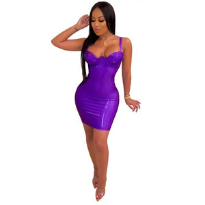 JRRY Women Faux Leather Mini Dress Spaghetti Strap Zippers Sheath PU Clothing Deep V Neck Short Outdoor Wear