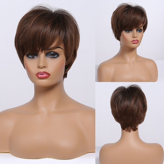 EASIHAIR White Ombre Short Bob Wigs Synthetic Hair for Women High Temperature Fiber Wig Natural Hair With Bangs Wigs