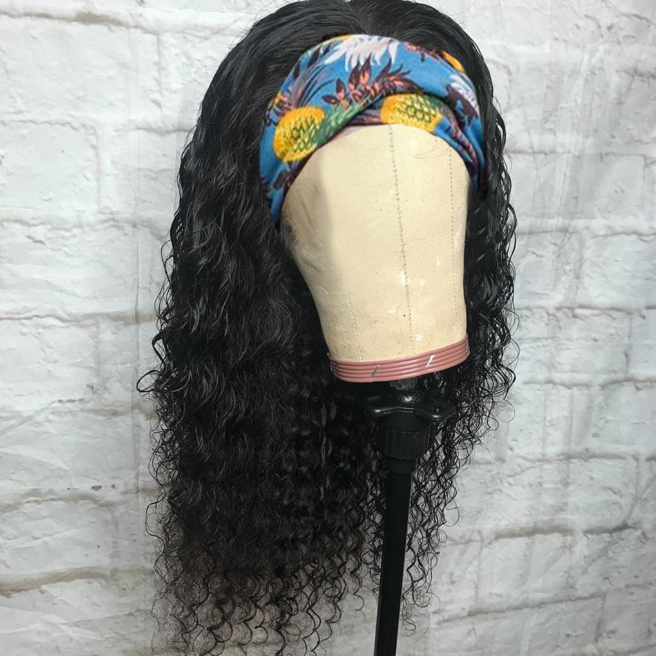 Headband Wig Human Hair Kinky Curly Wigs Machine Made Malaysian Jerry Curly Remy Human Hair Scarf Wigs No Glue Beginner Friendly