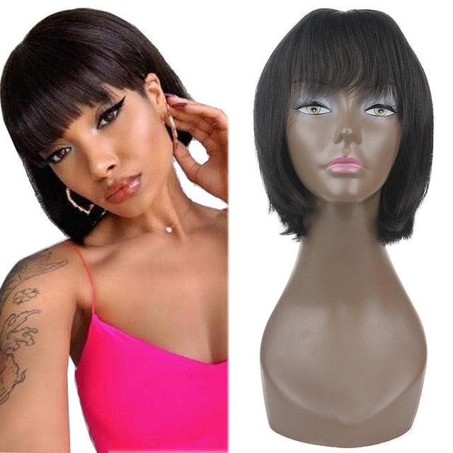 Short Straight Bob Synthetic Wigs With Bangs Black Color High Temperature Fiber Mixed Human Hair Machine Wig For Women X-TRESS