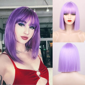 Aisibeauty Short Straight Bob Wigs for Women Synthetic Omber Blue/Red Pueple Wigs Middle Division Hair Natural Looking Fake Hair