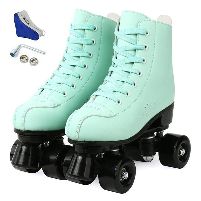 2020 Women Men 5 Choice Pu Microfiber Roller Skates Skating Shoes Sliding Quad Sneakers Begin Europe Size 2 Row Adult 4 Wheels
