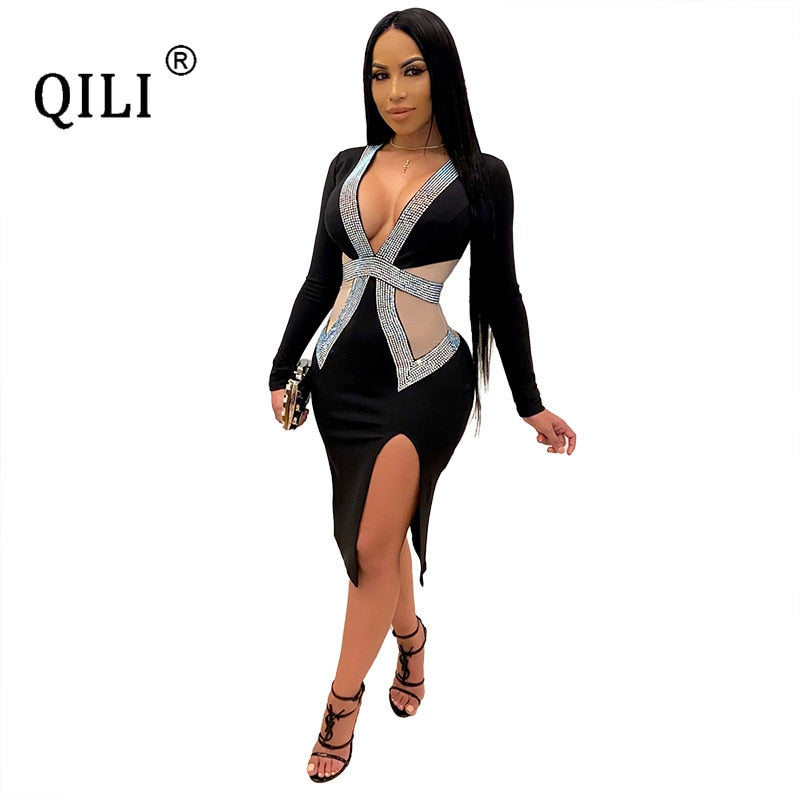 QILI Sexy Deep V-neck Mesh and Rhinestones Dresses Women Long Sleeve Split Diamonds Dress Red Black Blue Green Plus Size S-4XL